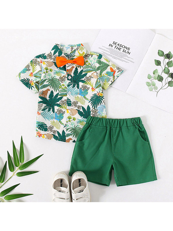 【12M-7Y】Boys Short-sleeved Floral Shirt Casual Pants Two-piece Suit