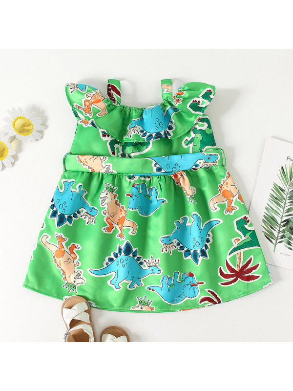 【18M-7Y】Girls Fresh Sweet Cartoon Dinosaur Print Cimisole Dress