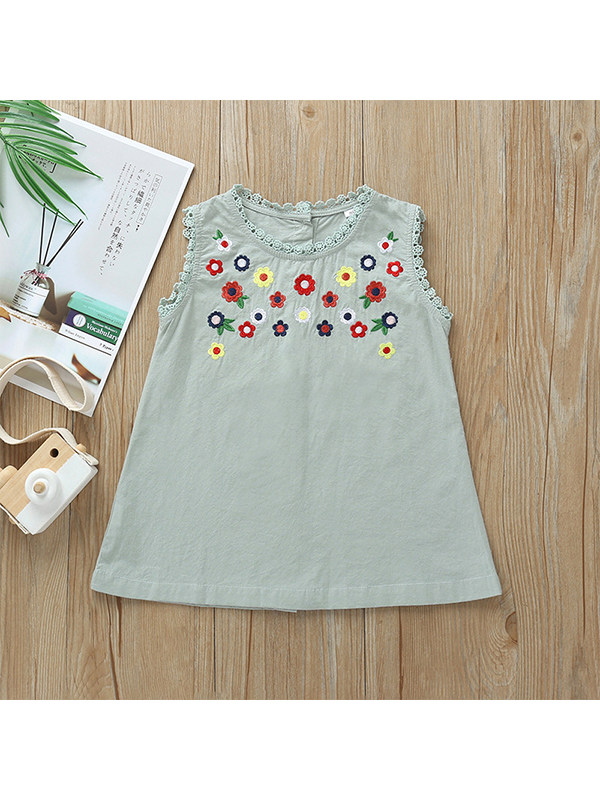 【12M-5Y】Girls Round Neck Lace Sleeveless Vest Embroidered A-line Dress