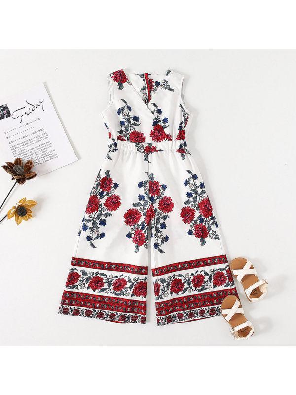 【18M-7Y】Girls Fashion Retro Flower Print V-neck Jumpsuit