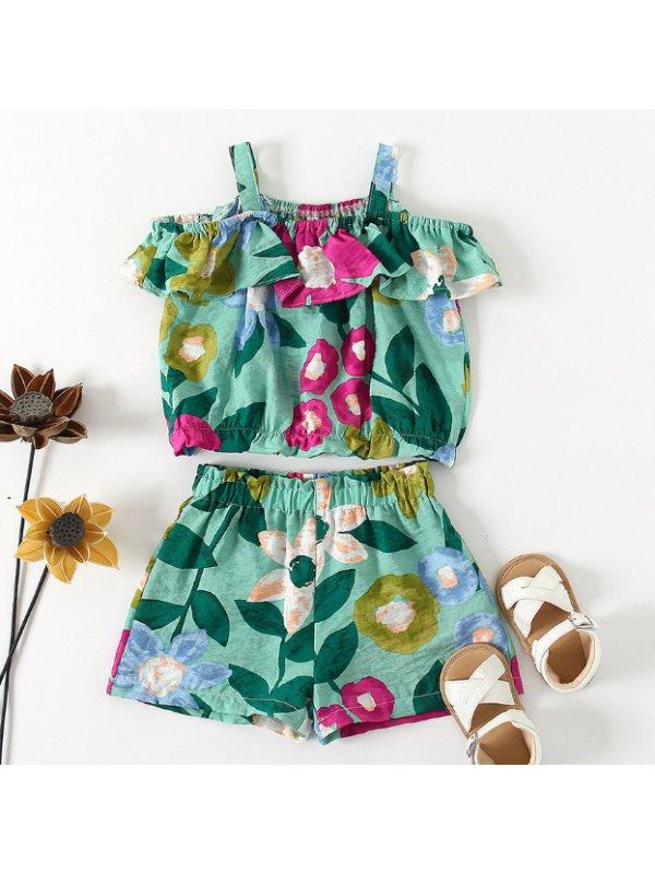 【18M-7Y】Girls Fresh Sweet Flower Print Camisole Top Shorts Suit