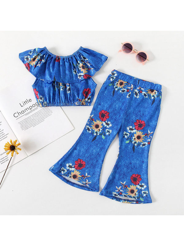【18M-7Y】Girls Fashion Retro Off-the-shoulder Top Flared Pants Suit