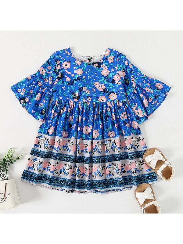 【18M-7Y】Girls Retro Ethnic Crew Neck Floral Short Sleeve Dress