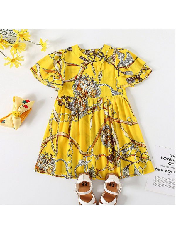 【18M-7Y】Girls Fashion Fun Print Short Sleeve Dress