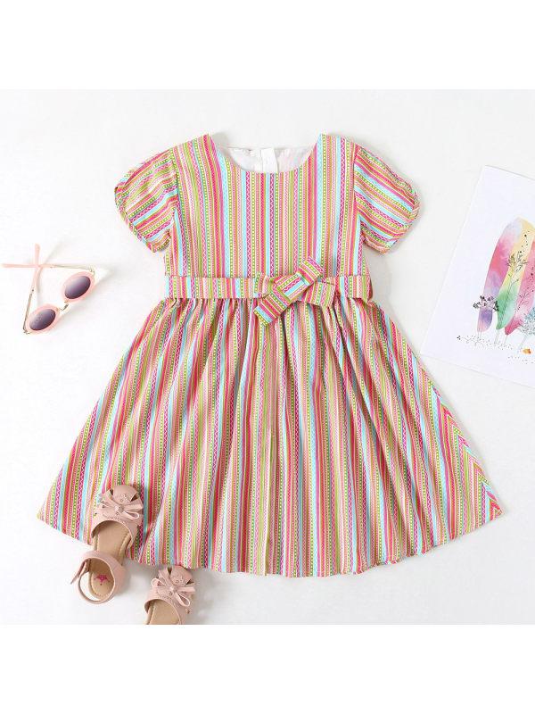 【3Y-11Y】Girls Fashion Retro Color Striped Short Sleeve Dress