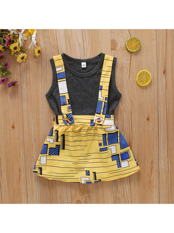 【12M-5Y】Girls Casual Vest Top Geometric Print Suspender Skirt Suit