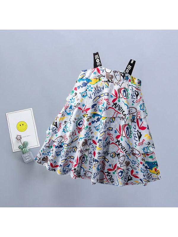 【18M-7Y】Girls Sweet Cute Cartoon Print Cimisole Dress