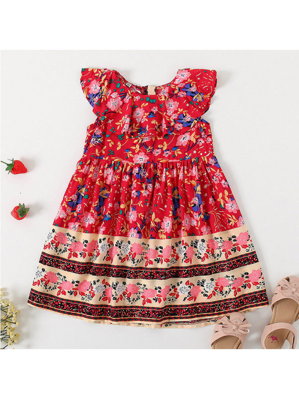 【18M-7Y】Girls Fashion Retro Floral Ruffled Sleeveless Dress
