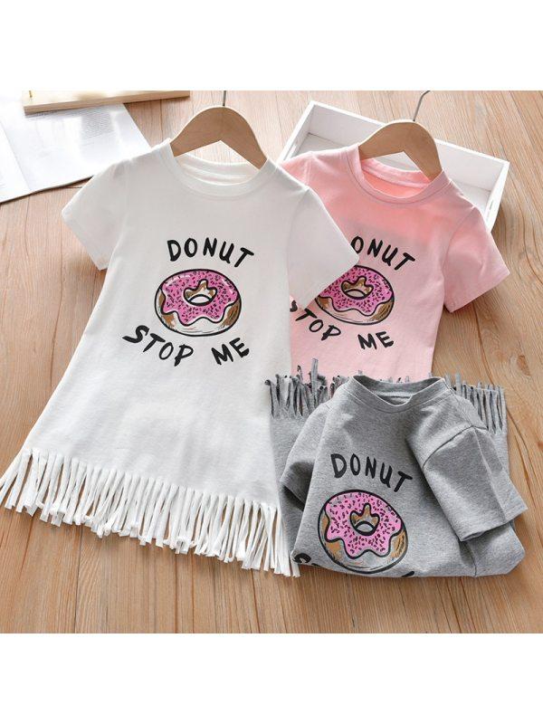 【18M-7Y】Girls Sweet Donut Pattern Short Sleeve Tassel Dress