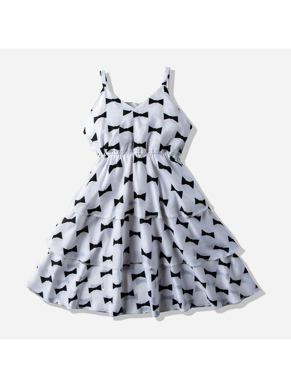 【18M-7Y】Girls Fresh Sweet Bow Pattern Sleeveless Chiffon Dress