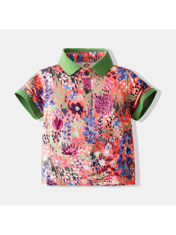 【18M-7Y】Boys Short-sleeved Floral Polo Shirt