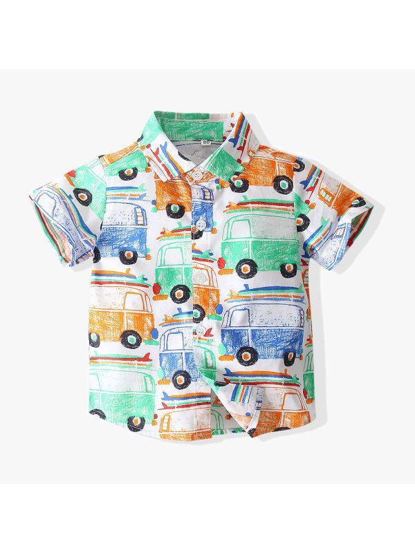 【12M-5Y】Boys Cartoon Print Shirt