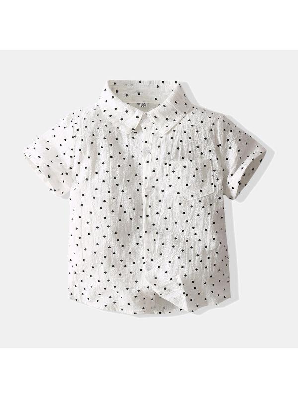 【2Y-9Y】Boys Short Sleeve Fashion Polka Dot Shirt