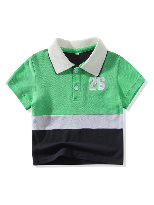 【12M-5Y】Boys Contrast Color Patchwork Short-sleeved Polo Shirt