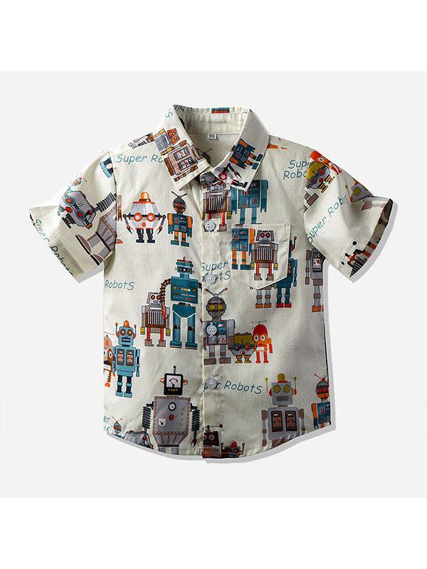 【2Y-11Y】Boys Cartoon Print Short-sleeved Shirt