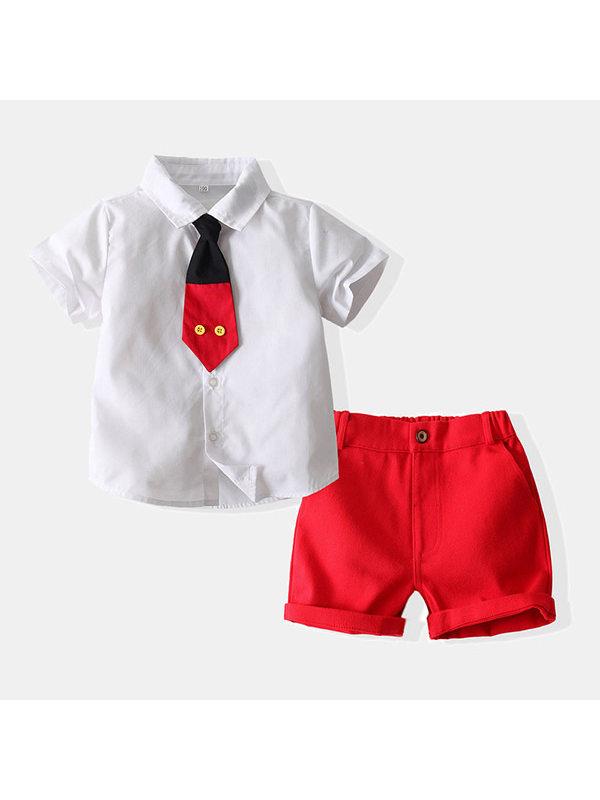 【18M-7Y】Boys Short Sleeve Shirt Shorts Suit