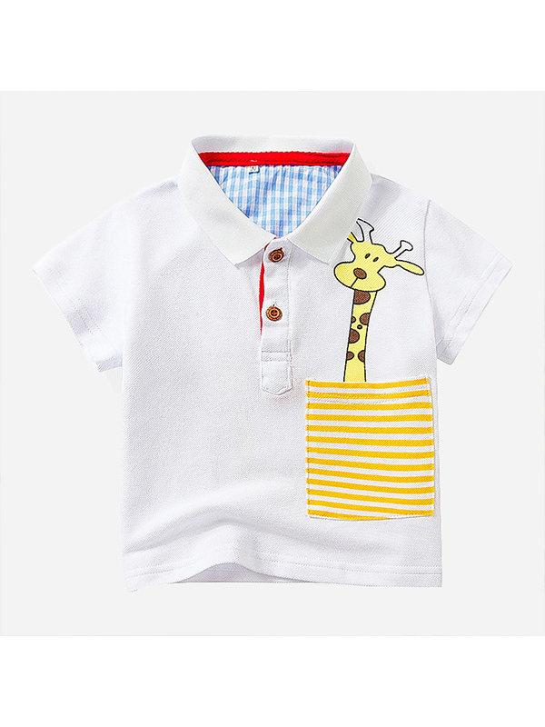 【12M-5Y】Boys Cartoon Print Short-sleeved Polo Shirt
