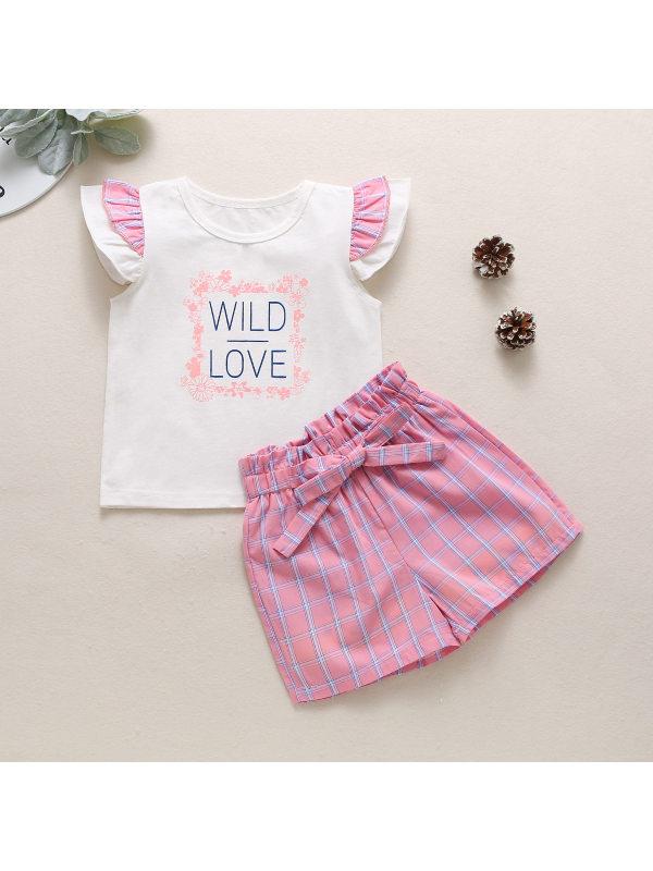 【12M-5Y】Girls Sweet Cute Letter Print Blouse Plaid Shorts Suit