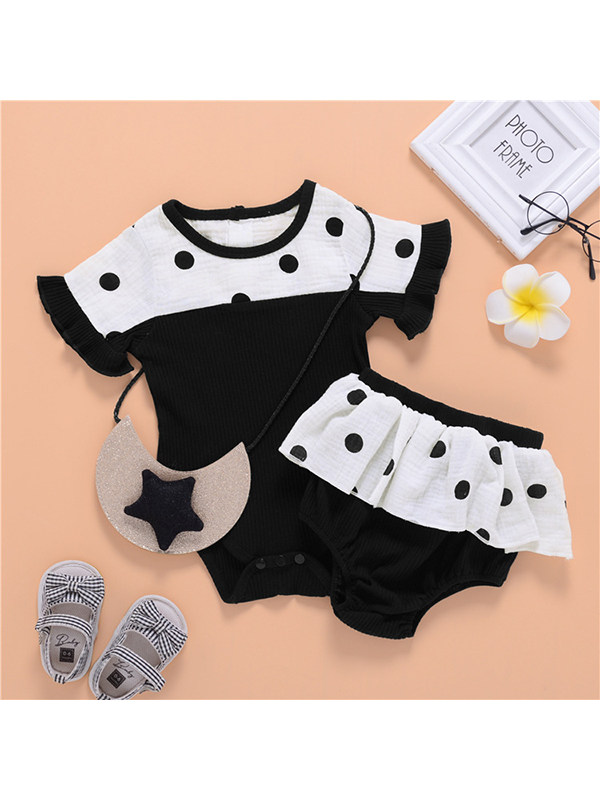 【6M-3Y】Baby Girl Short Sleeve Round Neck Contrast Color Romper with Black and White Culottes Set