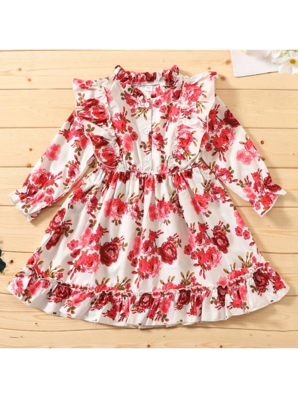 【18M-7Y】Sweet Red Flower Print Short Dress