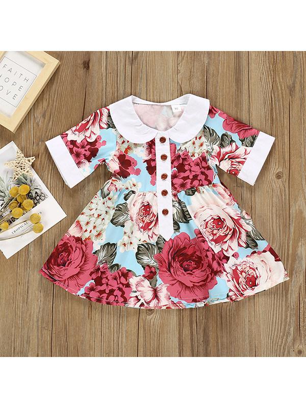 【18M-7Y】Girls Lapel Short Sleeve Floral Dress