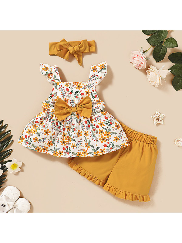 【12M-4Y】Girls Bowknot Floral Sling Top Solid Color Shorts Three-piece Suit - 3458