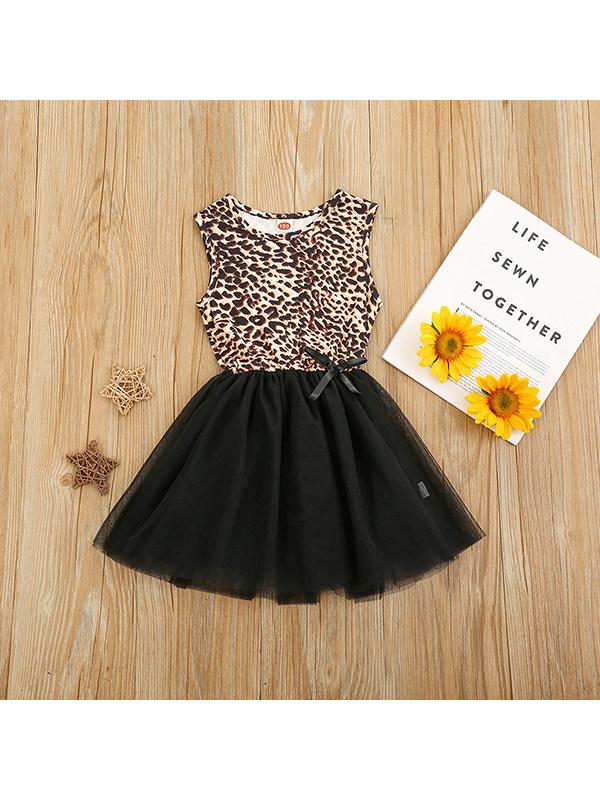 【18M-7Y】Girls Round Neck Sleeveless Leopard-print Mesh Vest Dress