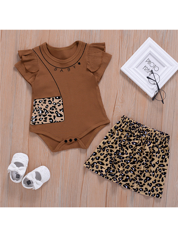 【6M-3Y】Baby Girl Round Neck Flying Sleeve Romper with Leopard Print Short Skirt Set