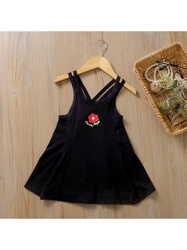 【12M-5Y】Girls Solid Color Flower Cotton Suspender Dress