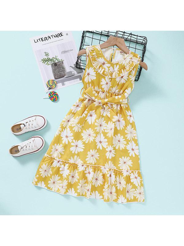 【18M-7Y】Girls Little Daisy Print Sleeveless Dress