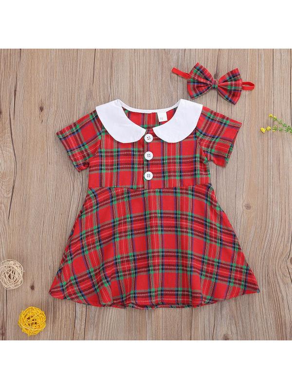 【6M-3Y】Girls Classic Plaid Doll Collar Short Sleeve Dress