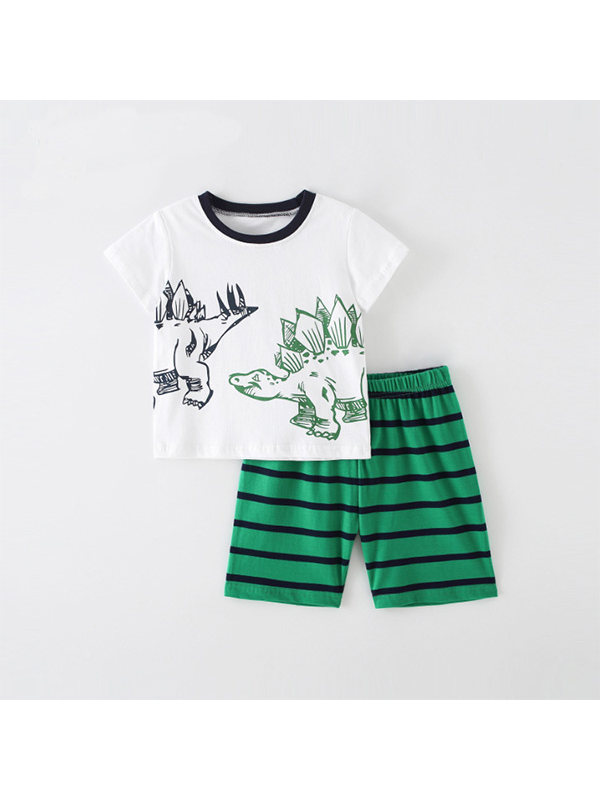 【18M-9Y】Boys Cartoon Print Short Sleeve Two-piece Suit