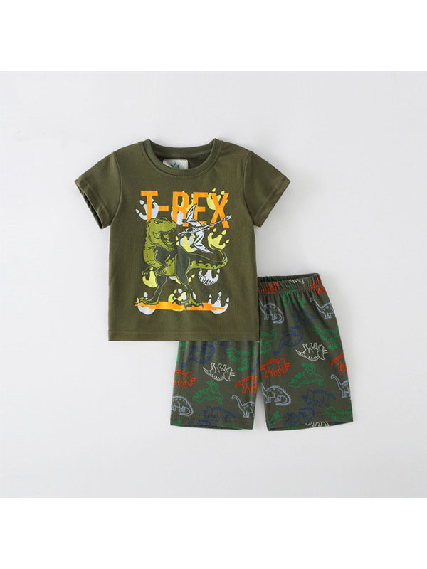 【18M-9Y】Boys Animal Print Short Sleeve Two-piece Suit