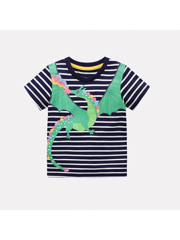 【18M-9Y】Boys Striped Print Short Sleeve T-shirt
