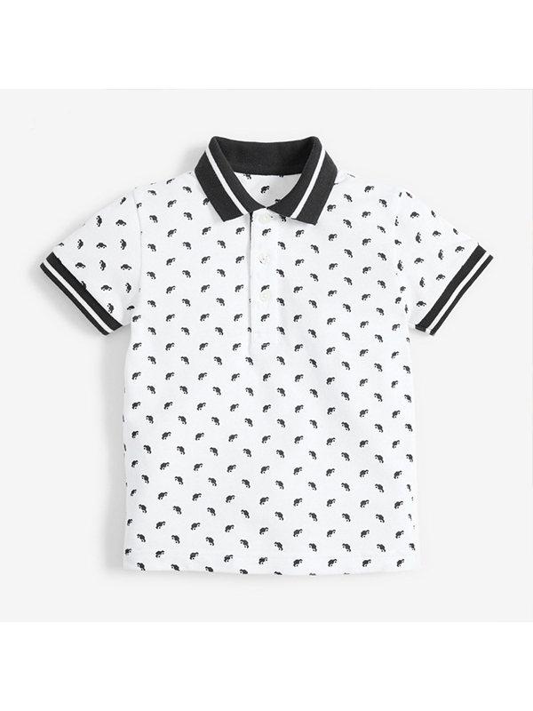 【18M-9Y】Boys' Cartoon Print Short-sleeved Polo Shirt