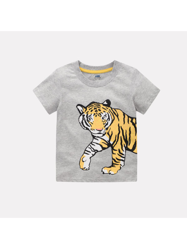 【3Y-9Y】Boys' Animal Print Trendy Short Sleeves