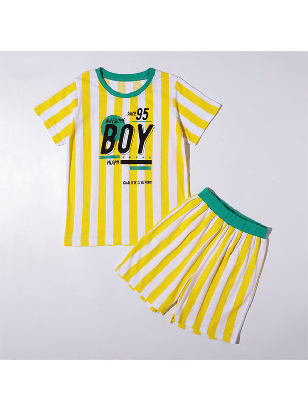 【4Y-13Y】Boys Striped Printed Letters Short Sleeve Two-piece Suit
