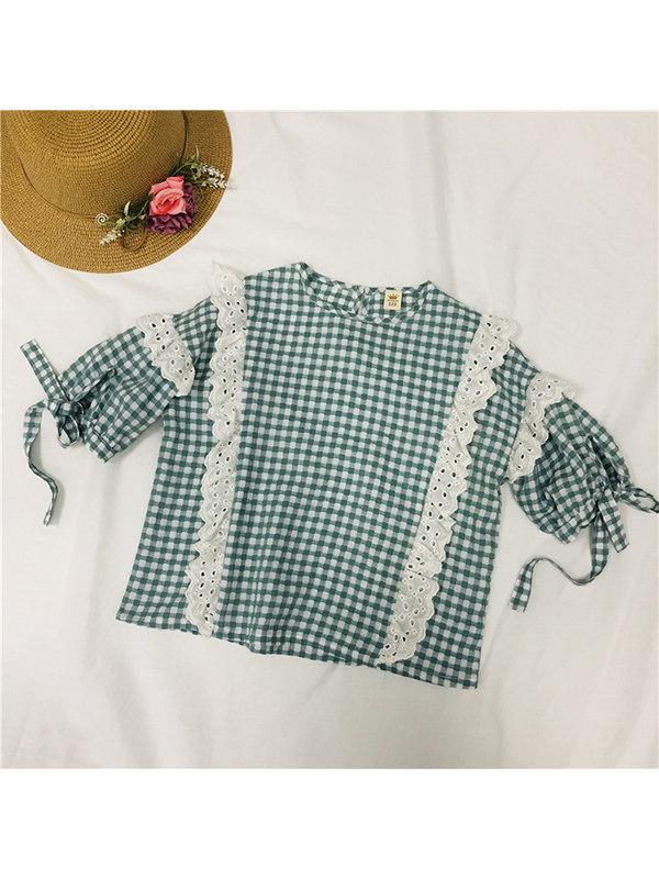 【3Y-13Y】Big Girl Casual Fashion Plaid Lace 5-point Short-sleeved Shirt
