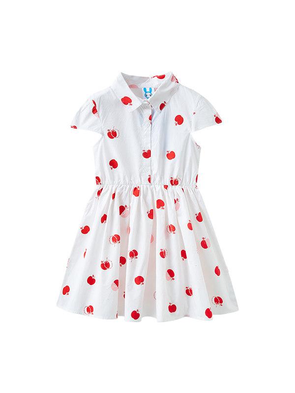 【3Y-13Y】Big Girl's Cotton Lapel Print Dress