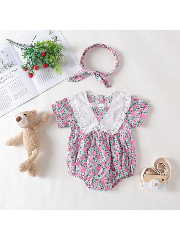 【3M-24M】Baby Girl Lace Lapel Short-sleeved Floral Jumpsuit