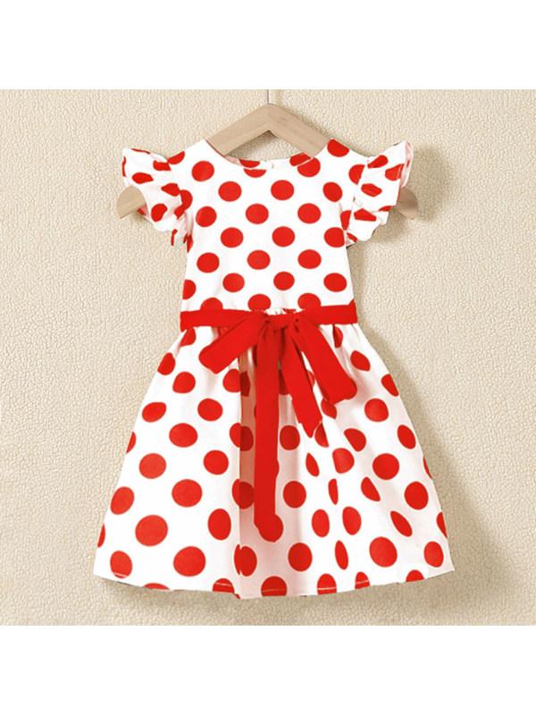 【18M-7Y】Cute Red Polka Dot Round Neck Dress