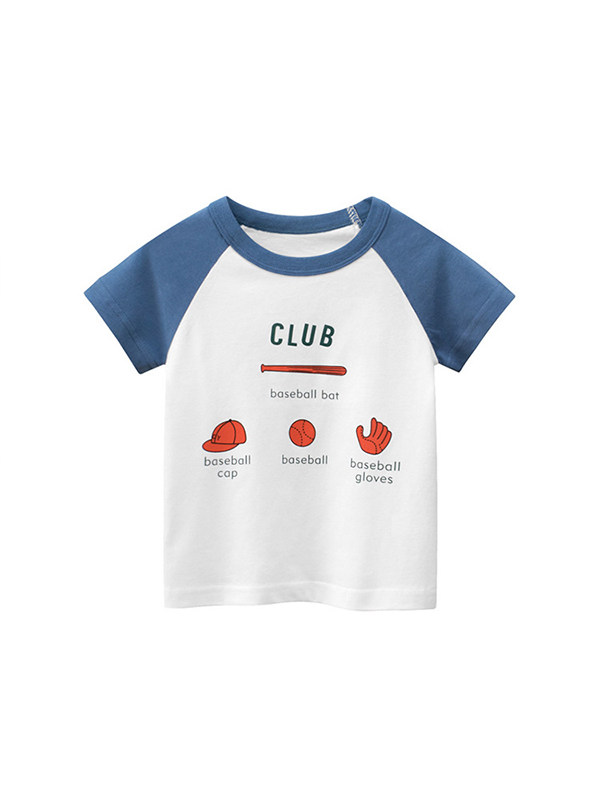 【18M-9Y】Boys Hit Color Cartoon Print Short Sleeve T-shirt