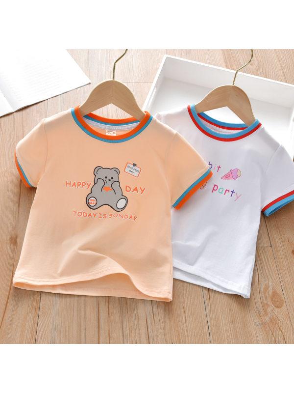 【18M-9Y】Girls Casual Cute Cartoon Print Short-sleeved T-shirt