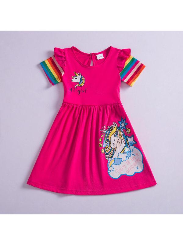 【3Y-8Y】Girls Sweet Unicorn Pattern Short Sleeve Dress