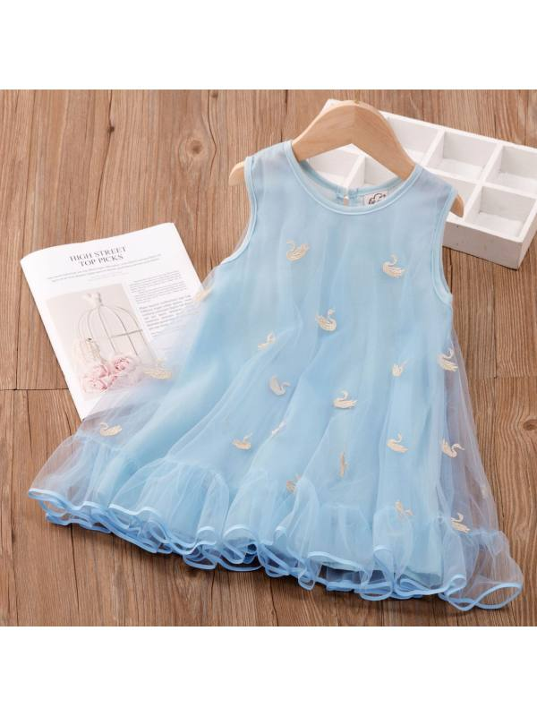 【3Y-11Y】Sweet Embroidered Round Neck Sleeveless Mesh Dress