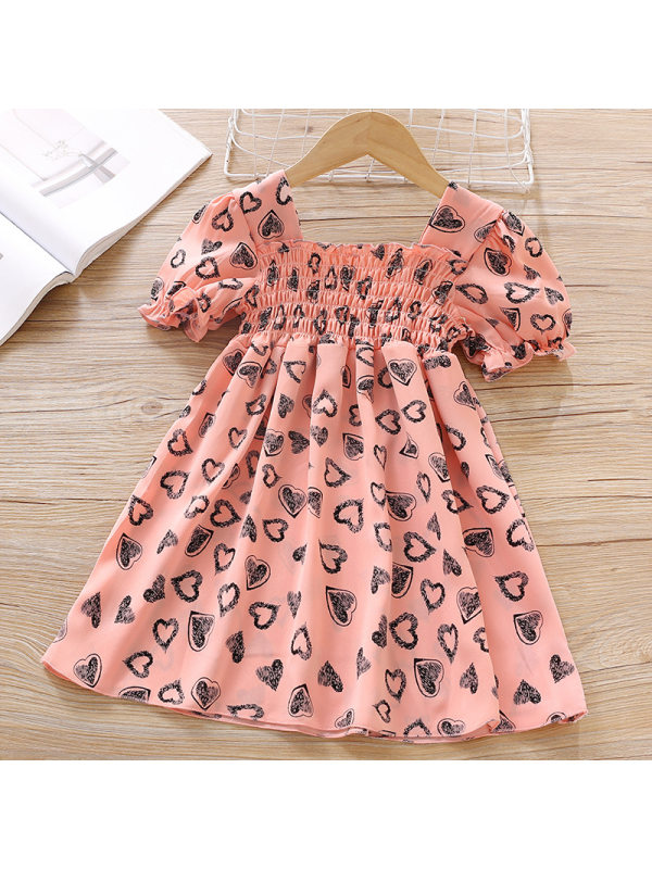【18M-7Y】Girls Sweet Heart Pattern Short Sleeve Dress