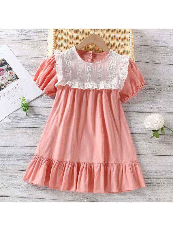 【18M-7Y】Sweet Lace Stitching Pink Puff Sleeve Dress