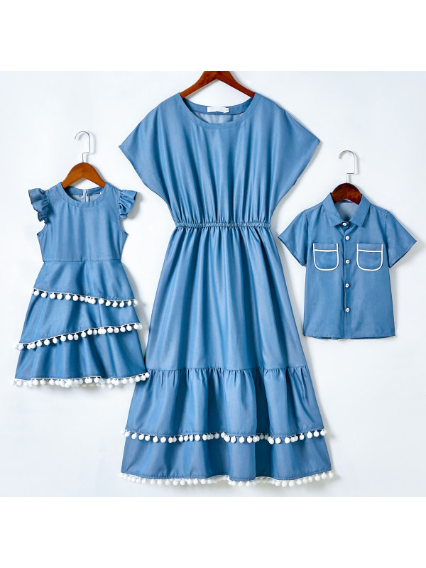 Casual Blue Denim Dress and Shirt Mom Kid Matching Outfits