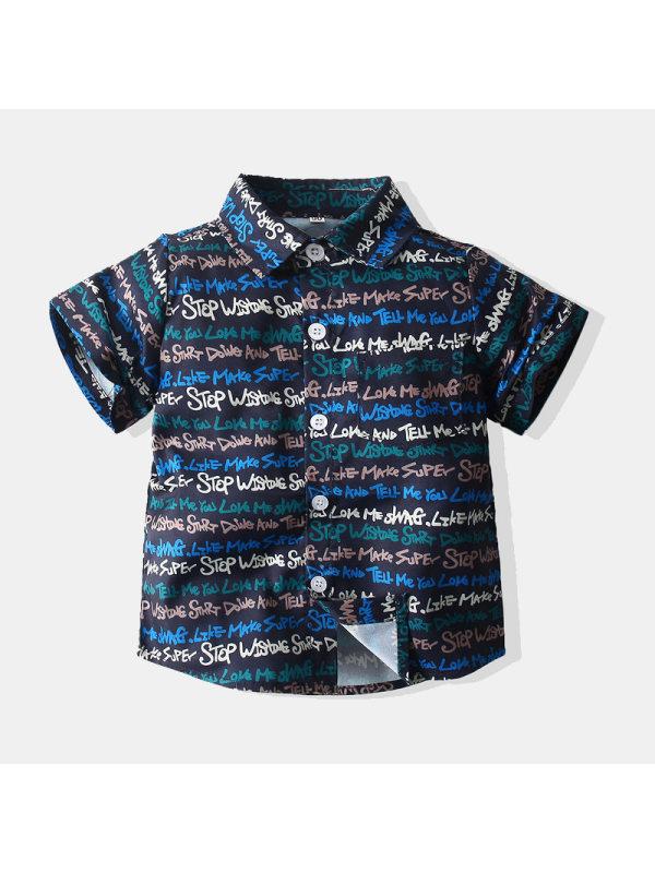 【12M-7Y】Boys Short-sleeved Shirt with Full Print