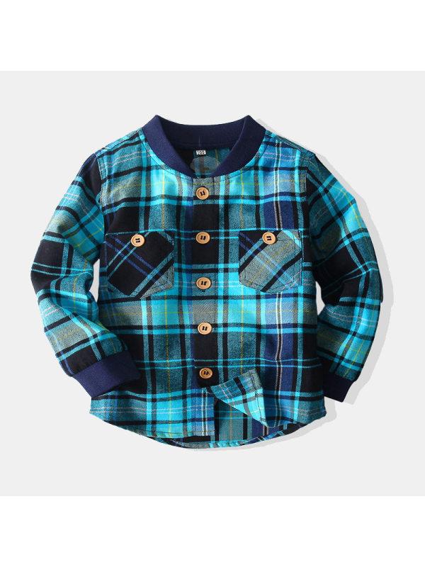 【2Y-9Y】Boys Plaid Long Sleeve Shirt